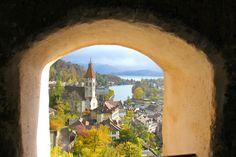 View from Thun Castle (German: Schloss Thun) Switzerland.