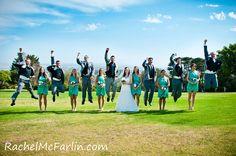 Fun Creative Wedding Bridal Party Jump Shot  www.rachelmcfarlinphotography.com