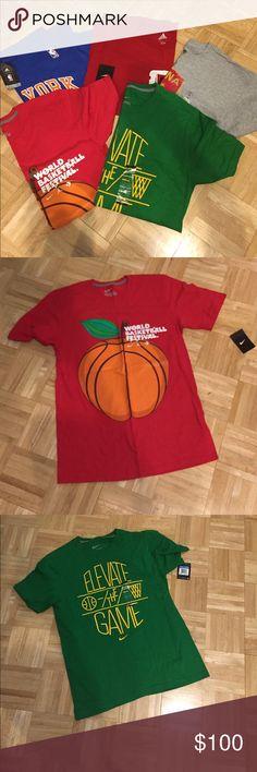 NWT Men's sports t-shirt bundle NWT men's shirts. Includes 1 Adidas Knicks shirt #17 (Jeremy Lin), 1 Gray Adidas shirt (says China on it), 1 Red Nike Shirt (says World Basketball Festival), 1 Green Nike shirt (Elevate the Game) and 1 Red sleeveless Adidas shirt with basketball image. All size Medium and brand new. Nike Shirts
