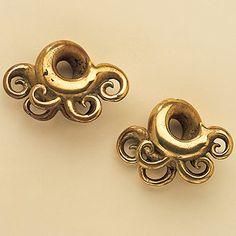 Brass earrings from the Kayan/Kenyah - Dayak people of Borneo Island, Kalimantan - Indonesia