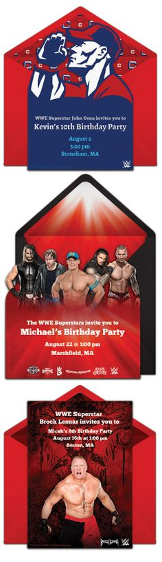 Free WWE invitations. Easily personalize and send WWE birthday invites via email or social media here: http://www.punchbowl.com/invitations/category/wwe?utm_source=Pinterest&utm_medium=Punchbowl-Pins&utm_term=invitation-gallery&utm_content=boy-birthday&utm_campaign=2015-34
