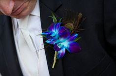 Blue Boutonniere Wedding Flowers- Minus the feather