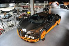 The world's fastest car, the 2011 Bugatti Veyron 16.4 Super Sport World Record Edition. On display at the Mullin Automotive Museum in Oxnard, Calif.