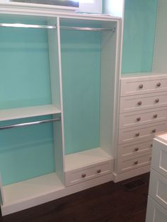 Closet Creations Designed this custom closet! Painting the wall a different color makes the closet pop! White Closet, Different Colors, Pop, Wall, Painting, Design, Home Decor, White Cabinet, Popular