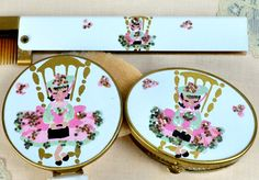 Hand Painted Compact Set ~ Vintage 1950s Complete Vanity Purse Set ~ Wand Art