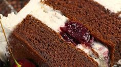 This recipe delivers a classic version of the original Black Forest cake with whipped cream frosting and cherry toping.