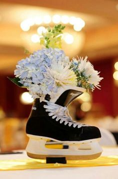 Centerpiece! for that hockey wedding you seem to be unintentionally planning for me. :D sports save the dates, baseball save the dates #wedding #sports