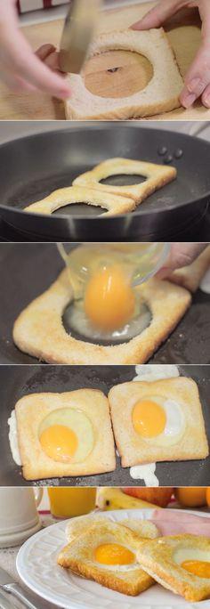 #Desayuno Saludable #Huevos en canasta #receta #niños                                                                                                                                                                                 Más