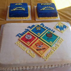 Blue and Gold Cake Idea  I like the idea of giving each bridging out their own cake.