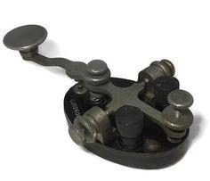WWII U.S. Navy Telegraph Key Model CJB26012A, Straight Key, Morse Code Transmitter, Bakelite Base, JH Bunnell Company