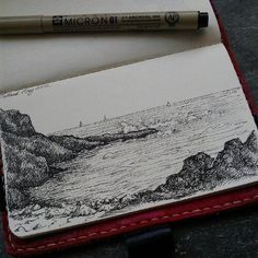 Talland Bay drawn in my moleskin on our last day ~moleskine is bae. Sketchbook Inspiration, Art Sketchbook, Fashion Sketchbook, Travel Sketchbook, Journal Inspiration, Art Inspo, Art Sketches, Art Drawings, Beach Sketches
