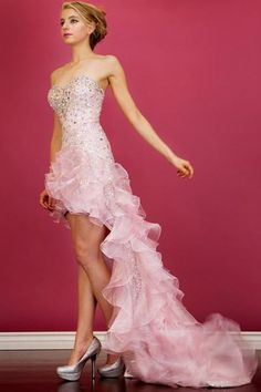 PRIMA C138101 Pink Sequin High / Low Prom Dress