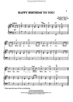 The melody of the song Happy Birthday was composed in 1893 by Patty and Mildred Hill two Louisville sisters. They were posthumously inducted into the Songwriters Hall of Fame on June 12 Free Piano Sheets, Easy Piano Sheet Music, Violin Sheet Music, Free Sheet Music, Piano Music, Piano Keys, Music Sheets, Happy Birthday Piano, Birthday Songs