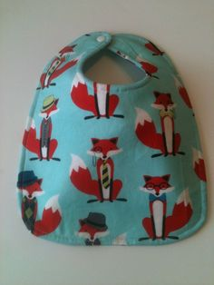 Baby Bib Second Item Ships Free.  Aqua Foxes  10 x by Essiedesigns