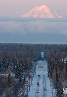 Soldotna Alaska, photo's | volcano as morning traffic moves down a street in Soldotna, Alaska ...