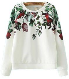White Vintage Flowers Tulips Long Sleeves Sweater Sweatshirt
