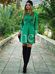 Shop Green Long Sleeve A Line Dress online. SheIn offers Green Long Sleeve A Line Dress & more to fit your fashionable needs.
