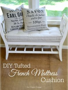 DIY Tufted French Mattress Cushion {Ballard Catalog Knockoff} - An Oregon Cottage