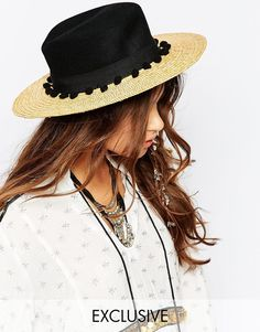 Catarzi+Straw+Hat+with+Contrast+Black+Crown+and+ b2b1e4430c9