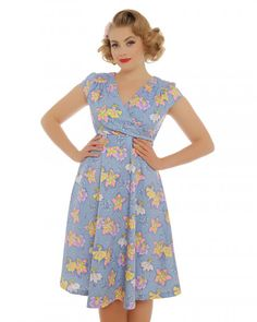 Dawn' Blue Flower Fairy Print Swing Dress