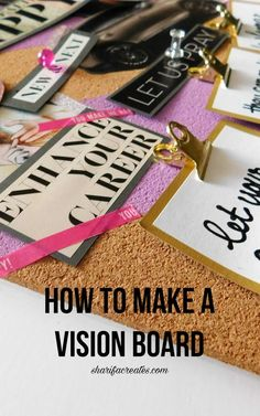 Learn how to make a corkboard vision board in this do-it-yourself tutorial! Vision boards can be made at anytime during the year. They will help you make your dreams a reality! Goal Setting Activities, Habakkuk 2, Goal Board, Creating A Vision Board, Visualisation, Goal Planning, Inspiration Boards, Dreaming Of You, Make It Yourself