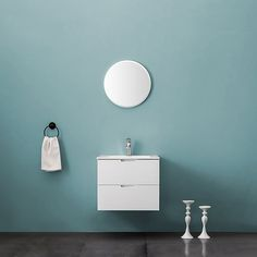 Bathlife Möbelpaket Glädje med Spegel Vit Floating Nightstand, Bathroom Lighting, Wall Lights, Mirror, Glass, Furniture, Home Decor, Products, Velvet