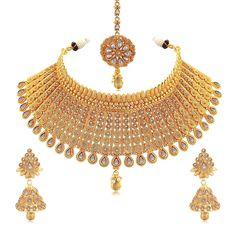Sukkhi Exclusive Gold Plated Wedding Jewellery Kundan Choker Necklace Set For Women Fashion Jewellery Online, Trendy Fashion Jewelry, Women Jewelry, Bridal Jewelry Sets, Wedding Jewelry, Necklace Set, Necklace Lengths, Choker Necklace Online, Thing 1
