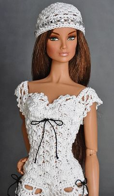 Crochet Top and hat Fame to Frame wearing a handmade camisole and hat. Barbie Clothes Patterns, Crochet Barbie Clothes, Doll Clothes Barbie, Barbie Dress, Crochet Dolls, Clothing Patterns, Dress Patterns, Barbie Stil, Barbie Mode