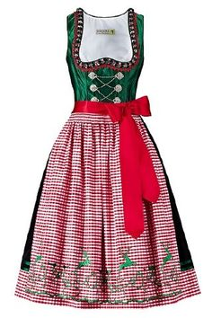 A perfect dirndl for the holiday season. Red Costume, Folk Costume, Traditional Fashion, Traditional Dresses, European Costumes, German Outfit, Dirndl Dress, German Fashion, Folk Fashion