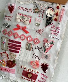 needlework for Valentine's Day Embroidery Sampler, Ribbon Embroidery, Embroidery Art, Cross Stitch Embroidery, Fabric Art, Fabric Crafts, Sewing Crafts, Sewing Projects, Fabric Journals