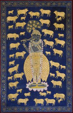 Buy original Pichwai paintings of Lord Krishna (Srinathji) created with natural stone colors and real gold paint and gold foil by traditional Nathdwara artists. Music Painting, Cow Painting, Krishna Painting, Krishna Art, Online Painting, Oil Painting Abstract, Shree Krishna, Radhe Krishna, Watercolor Artists