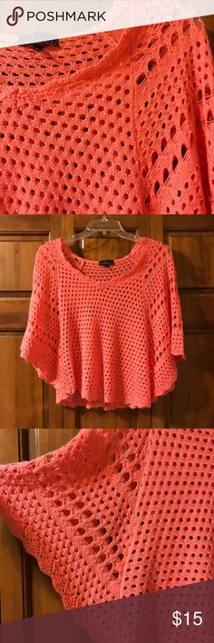 Cropped Open-Knit Sweater. This is so gorgeous!  Coral open-knit. Butterfly sleeves. Flirty and feminine.  Excellent condition.  Just worn once! Please let me know if measurements are needed! Takeout Tops Crop Tops