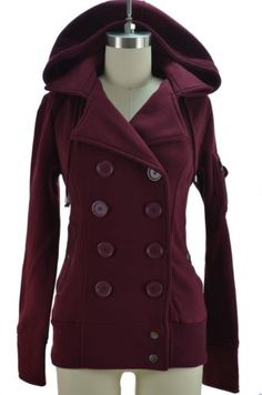 Comfy-CHIC-Double-Breasted-BOMBER-Pea-Coat-Style-JACKET-with-HOOD-Pockets