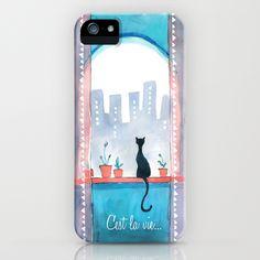 C'est la Vie Cat in City Window iPhone Case