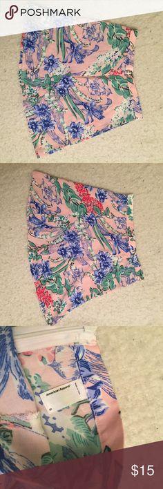 American apparel matching set skirt, skater skirt Pink floral skater skirt, part of AA matching set American Apparel Skirts Circle & Skater