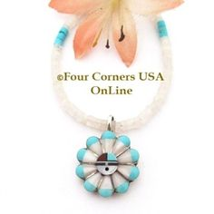 Zuni Pink MOP Turquoise Inlay SunFace Pendant 17 Inch Bead Necklace NAP-09302 Four Corners USA OnLine Native American Jewelry