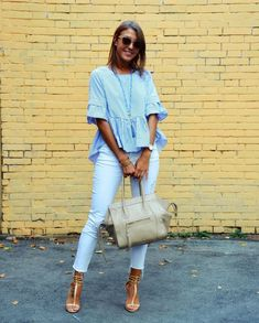Summer outfits with white jeans and heels