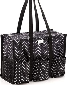 Amazon.com: Pursetti Zip-Top Organizing Utility Tote Bag with Multiple Exterior & Interior Pockets for Working Women, Nurses, Teachers and Soccer Moms (Hatch Mark): Kitchen & Dining Nurse Appreciation Day, Organizing Utility Tote, Travel Tote, Working Woman, Soccer Moms, Diaper Bag, Nurses, Tote Bag, Zip