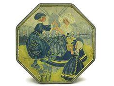 Art Deco Tin Box. Gaston Marechaux Litho Illustration of Dutch