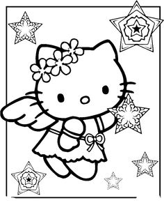 Hello Kitty The Christmas Angel Coloring Pages