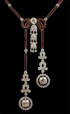 Platinum & 18kt. Yellow Gold Diamond & Ruby Nekclace.  Diamonds - 14.84cts. and Ruby - 13.03cts. Edwardian style, modern