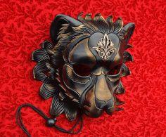 Regal Lion Mask (by Merimask) ... handmade original leather mask masquerade mardi gras steampunk halloween burning man costume