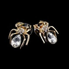 Pair of Fashion Faux Crystal Embellished Spider Shape Earrings For Women 4.28