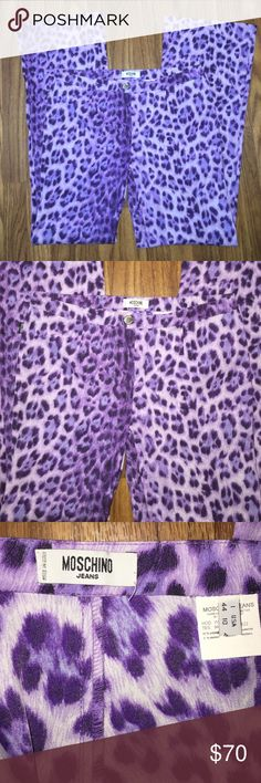 Moschino Jeans Purple Leopard pants It 44 US 10 Moschino Jeans Purple Leopard Pants / 95% nylon 5% elastane .... Awesome pants!!  Show stoppers for sure!!  Italian size 44, US size 10.  Stretchy.  Comfy.  Super cool! Moschino Pants Boot Cut & Flare
