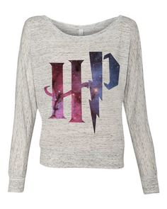 Harry Potter HP Galaxy logo - Ladies Long Sleeve Slouchy Pullover