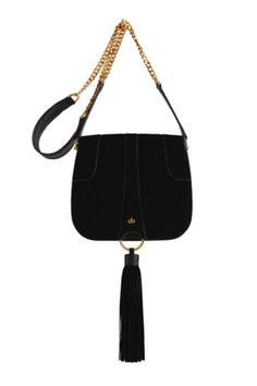 Stunning suede side bag with beautiful gold detailing and large tassel design. Features a gorgeous interior & a strong well crafted exterior. Made in World Class manufacturers.    Measurements: H20cm x W23cm x D7cm   Black Omissa Saddle-Bag  by AVGVS. Bags - Cross Body New South Wales, Australia