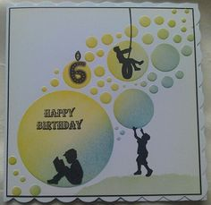 6th birthday card made using Clarity Stamps Wee Folk stamps & Jo's bubbles stencils with distress inks - by Lynne Lee.