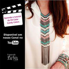Meninas, venham aprender o tutorial desse colar maravilhoso!!!  Kit Colar Candy Colors nos tons pastéis e chuveiro de correntes! Novidade no site!!!