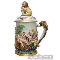 Capo-di-Monte Bacchanalian Scene, Lion On Handle, Finial, Blue Crest Marked Stein