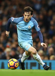 David Silva of Manchester City in action during the Premier League match between Manchester City and Tottenham Hotspur at the Etihad Stadium on January 21, 2017 in Manchester, England.